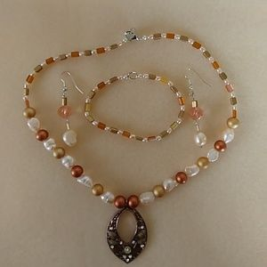 Necklace, bracelet and earring set, homemade.